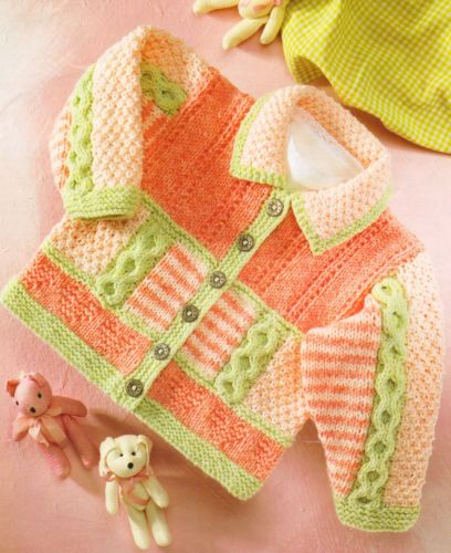"""Textured DK Baby Jacket Hearts Cables Stripes 16"""" - 26"""" Super Knitting Pattern 