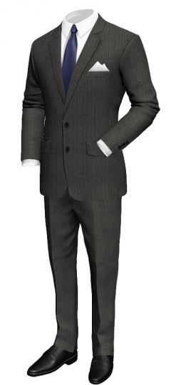 Slim fit grey suit in merino wool: Slim fit Notch lapel Central vent White pocket square Pinstriped lining http://www.tailor4less.com/en/collections/custom-suit/premium-suits-collection/slim-fit-grey-suit-in-merino-wool