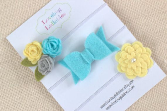 Aqua Yellow Gray Felt Flower Bow Headband or Hair Clips Set of 3; Baby Newborn Toddler Child Felt Bow; Baby Shower Gift; Newborn Photo Prop