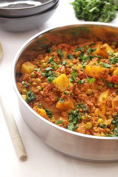 Vegetarian keema curry with peas & potatoes recipe - this looks AMAZING - full of protein and nutrients too.