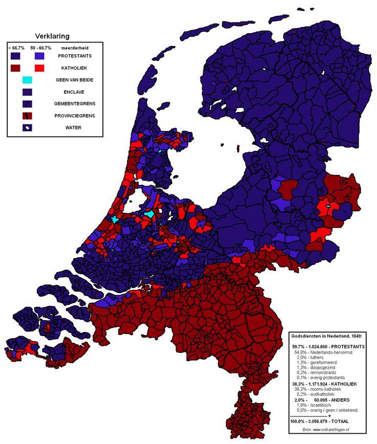 1849 protestant religion blue and roman catholic religion red in the catholic religionhistorical mapsantique