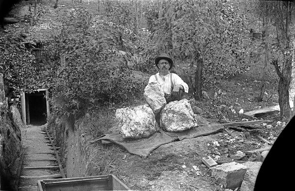 Vincent Sachs with massive molybdenite samples from the Sachs Molybdenite mine, Kingsgate, NSW. Late 19th Century #ThrowbackThursday