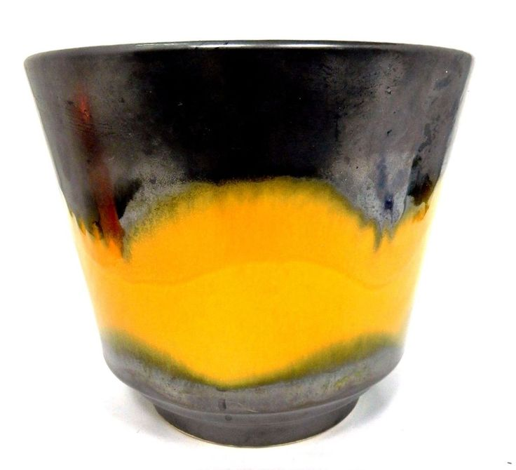Planter Mid Century Modern Germany Lava Drip Glaze Yellow Black