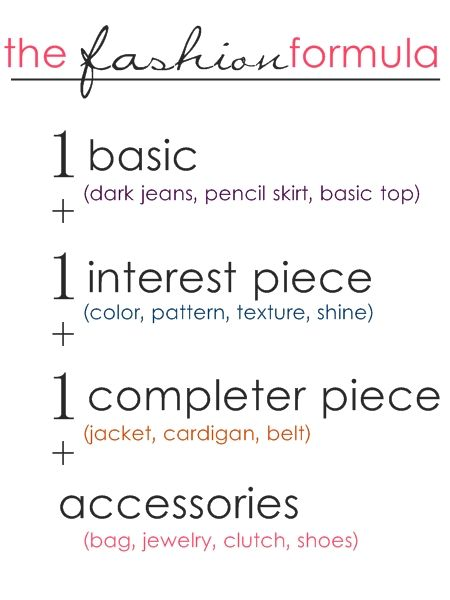 The fashion formula. Always remember this