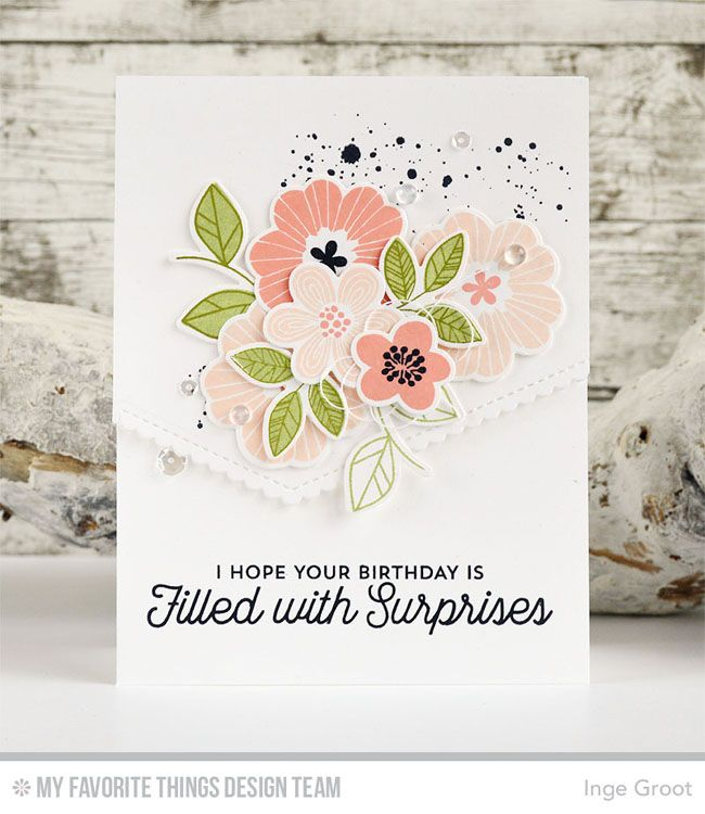 Bold Blooms Stamp Set and Die-namics, Twice the Wishes Stamp Set, Distressed Patterns Stamp Set, Stitched Scallop Basic Edges Die-namics - Inge Groot  #mftstamps