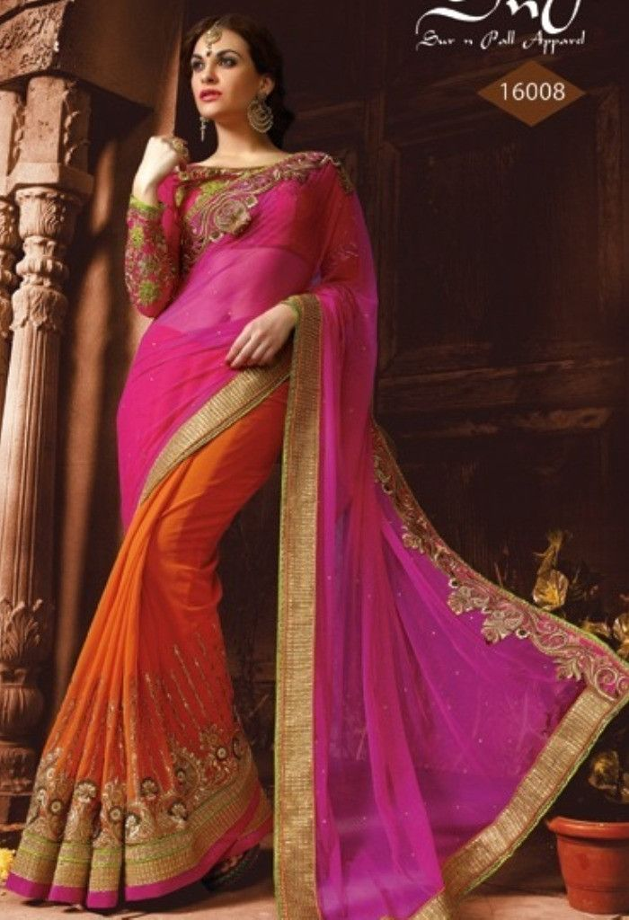 Orange Georgette Designer Saree With Heavy Embroidery Work@ fashionsbyindia.com #designs #indian #fashion #womens #style #cloths #fashion #stylish #casual #fashionsbyindia #punjabi #suits #saree #wedding
