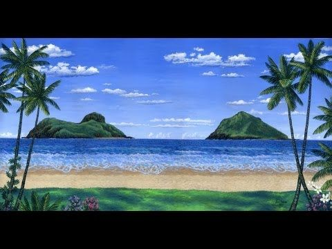 how to paint a tropical beach and islands using acrylic on canvas