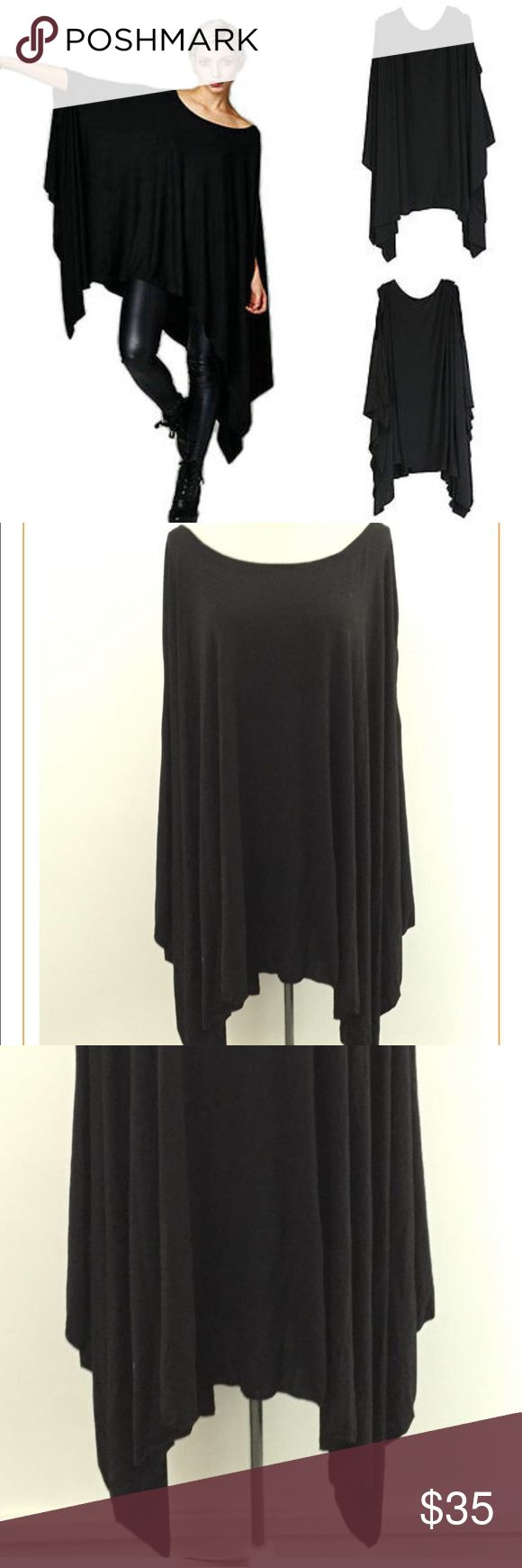 Plus Size Loose Batwing On hold till tonight Asymmetrical  plus size Loose Women Dress or top Plus Size Cloak Dress Girls Casual Batwing Sleeve T Shirt Dress Vestidos Specifics Plus size  WaistlineLoose Sleeve StyleBatwing Sleeve Pattern TypeSolid black  StyleCasual MaterialCotton blend  NecklineO-Neck SilhouetteAsymmetrical Sleeve LengthThree quarters  No tickets  was in show room as sample new condition 2x but it's great for size fits all plus as it's runs big and loose as a dress…