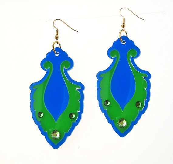 Blue & Green Teardrop Earrings - Bridesmaid Jewelry - Romantic Jewelry - Cocktail Jewelry - Party Jewelry - Evening Jewelry - Gift For Her  These unique teardrop earrings are made from a combination of blue and green acrylic parts and swarovski crystals, they hang on NICKEL FREE gold plated over brass earwires.  These earrings make a bold statement, yet are surprisingly lightweight and easy to wear. $65