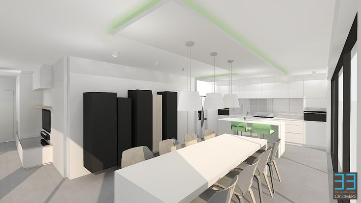 Eetkamer Kasten : Modern interior in Belgium. Dining place and kitchen ...