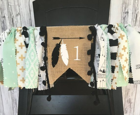 Tribal First Birthday Highchair Banner// MInt and by MKsBowtique