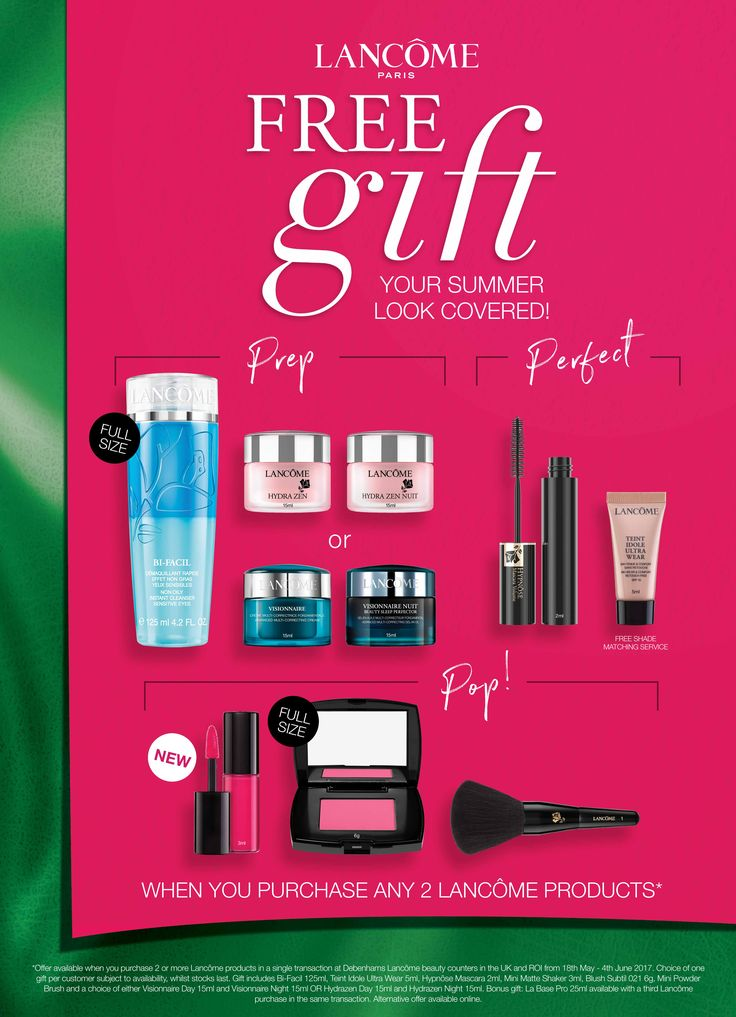 Get your summer look sorted with this great offer from Lancôme @debenhams!  Buy 2 products and receive this 7 piece gift which is stunning and great value! Starts this Thursday 18th so don't miss out!!!
