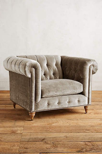 Slub Velvet Lyre Chesterfield Armchair - anthropologie.com
