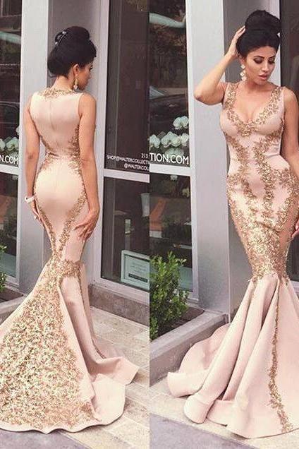 Prom Dress, Sexy Prom Dress, Mermaid Prom Dress, Applique Prom Dress, Evening Gown, Sleeveles Prom Dress, Zipper Prom Dress, Sweep Trian