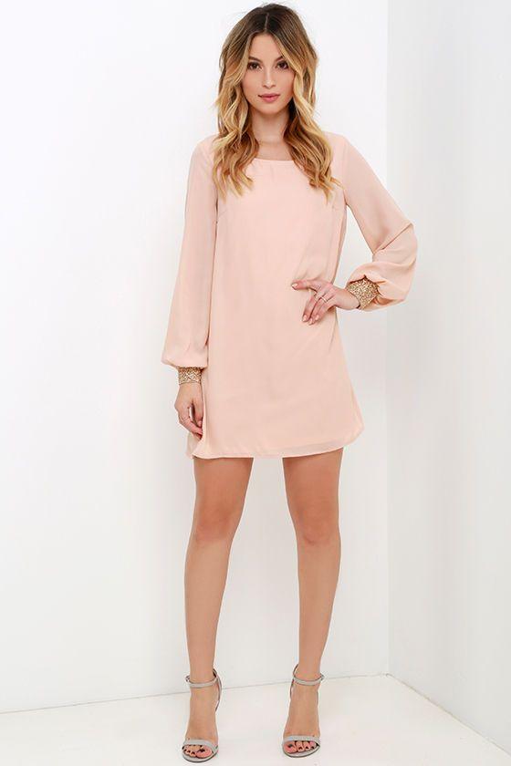 Guiding Light Blush Long Sleeve Shift Dress at Lulus.com!