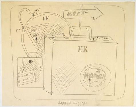 Bagagem feliz de A Autobiografia de uma Serpente Chamada Noa Boa. 1963. Desenho. Andy Warhol (Pittsburgh, PA, USA, 06/08/1928 - 22/02/1987, Nova York, NY, USA).