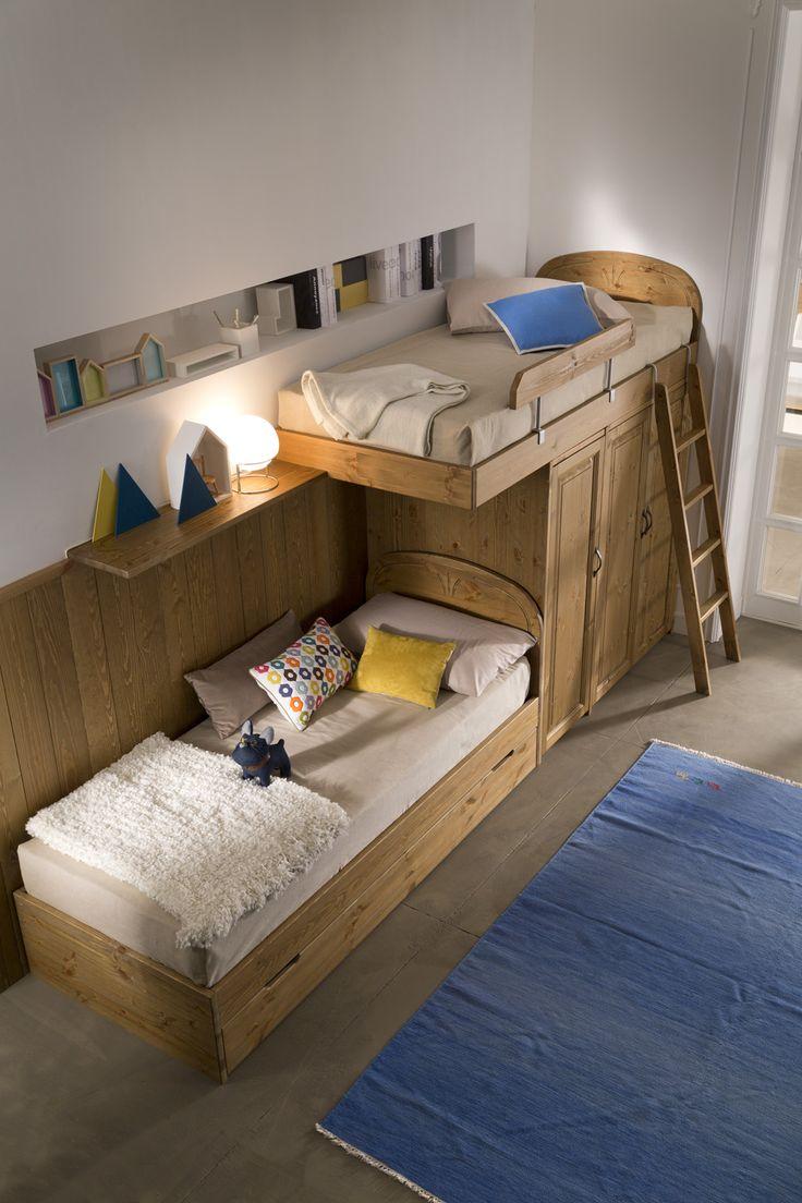 children's bedroom - pine wood  #furniture #bedroom #design #madeinitaly #solidwood #spacesaving #interior #moderncountry