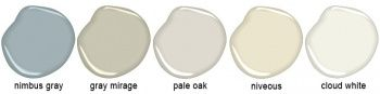 Candice Olsons Five Go To Benjamin Moore Paint Colors: nimbus gray 2131-50, gray mirage 2142-50, pale oak OC-20, niveous OC-36, and cloud white OC-130.