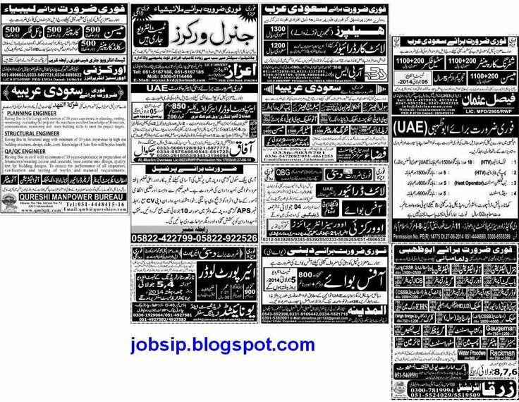 Jobs in Pakistan: General Workers,Shuttering Carpenter,Steel Fixer,M...