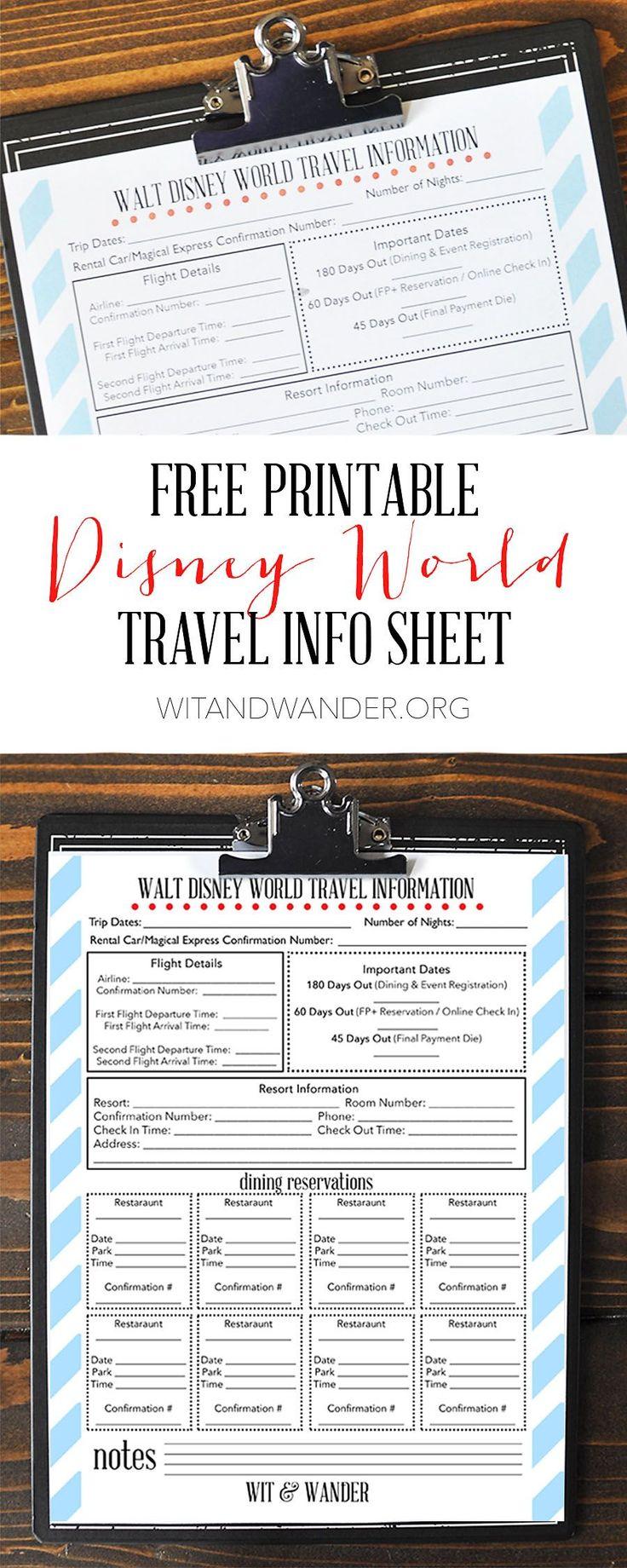 Printable Disney World Travel Info Sheet - Wit & Wander Pinterest