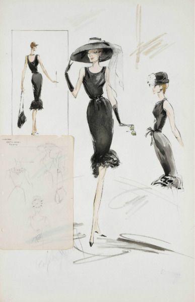 Edith Head sketch for Audrey Hepburn in Breakfast at Tiffany's (1961)