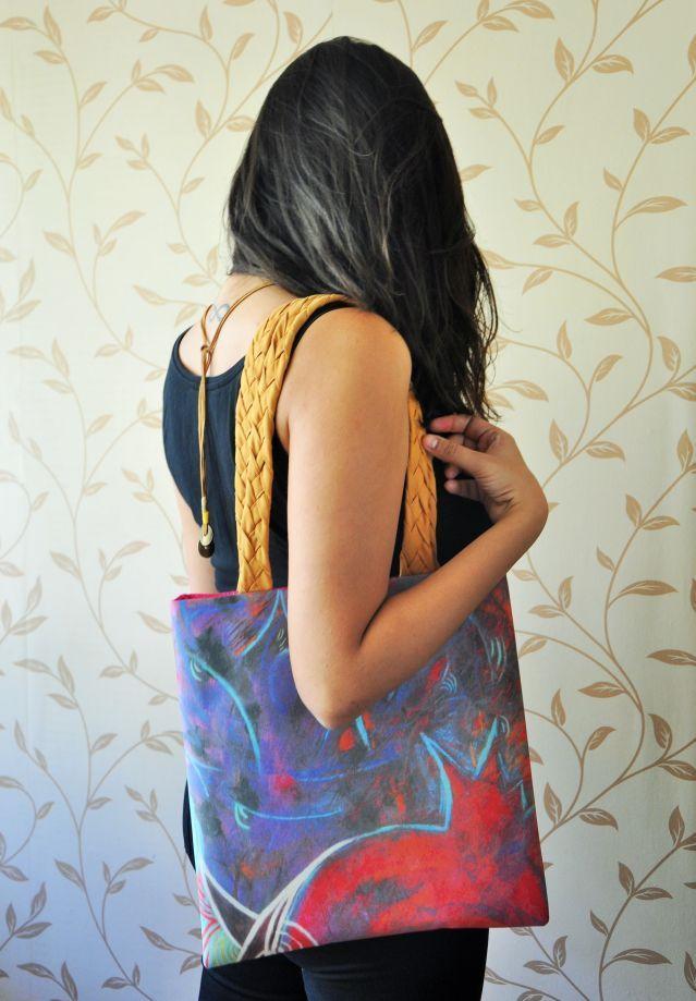 İki kulplu heybe özel tasarım baskılı omuz çanta