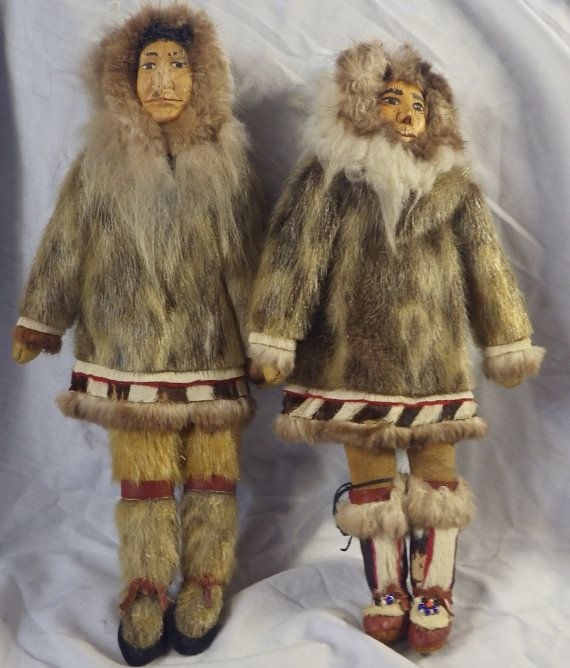 TWO Vintage Inuit Eskimo Dolls with Traditional Fur Clothing. Handmade. Wood carved face Very collectible