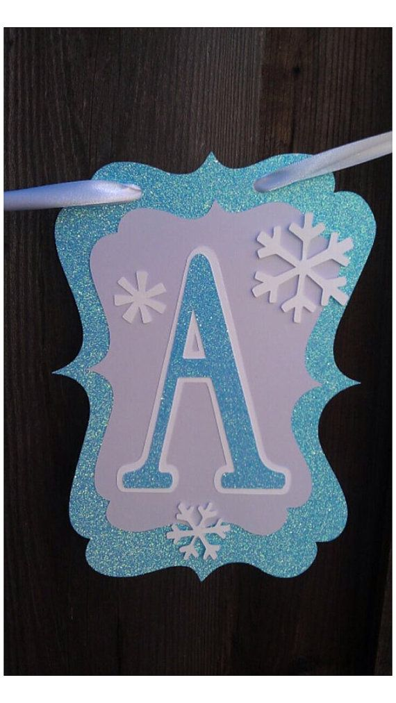 Elsa Frozen Snowflake Happy Birthday Banner by DoItAllDiva on Etsy                                                                                                                                                                                 Más