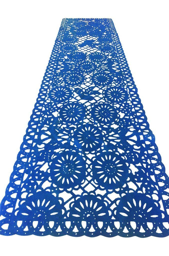 Mexican fabric Table Runner Papel Picado design Navy Blue