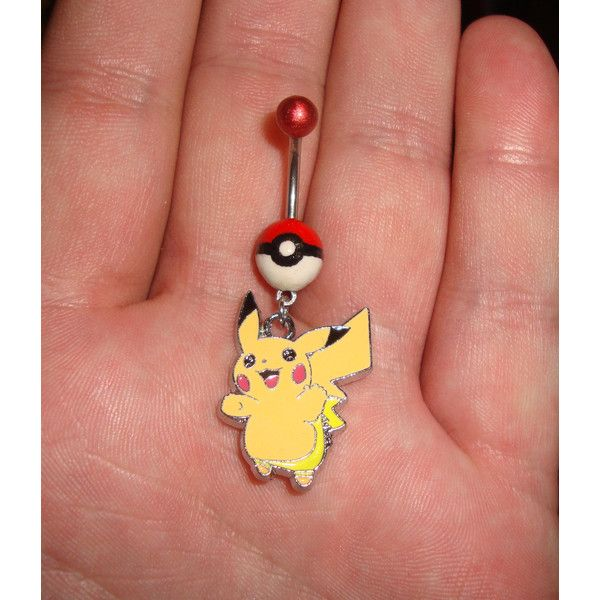 Pokeball Pikachu belly ring ❤ liked on Polyvore
