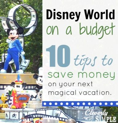 10 Tips To Visit Disney World On A Budget!  Disneyland Resort Walt Disney World Pro Tips for being a pro at Disney Parks and getting the most of your vacations. (click the link that takes you to cleverlysimple)