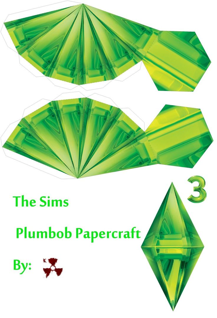 The Sims Plumbob Papercraft by killero94.deviantart.com