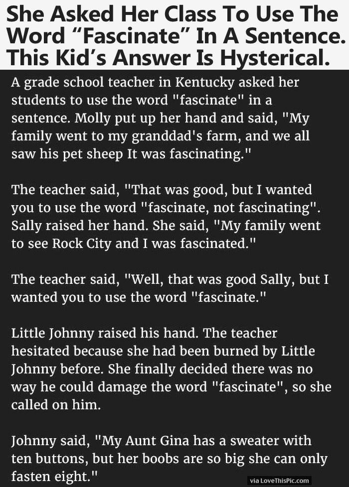"She Asked Her Class To Use The Word ""Fascinate"" In A Sentence. This Kid's Answer Is Hysterical."