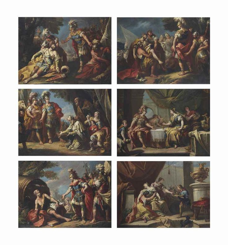 Gaspare Diziani (Belluno 1689-1767 Venice)  Alexander and Diogenes; Alexander and the family of Darius; Alexander before the body of Darius; The Death of Darius; The Death of Sophonisba; and The Banquet of Antony and Cleopatra
