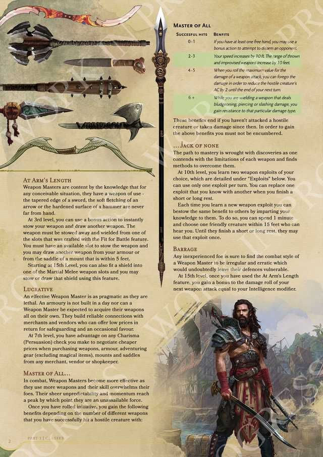 [Subclass] Weapon Master - A Multi Weapon Melee Master