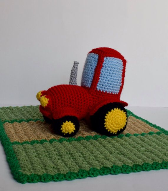 Crochet Red Tractor Lovey/Security Blanket Crochet Red Tractor Amigurumi Toy Crochet Country Farm Blanket Green Field  ************************************************************************************  Check out this cute little red tractor working hard in the field. It would be the perfect little buddy for your child. The blanket is secured to the tractor at each wheel. Made in a smoke free environment. I can do custom orders on this, in which you can pick the colors and size of blanket…