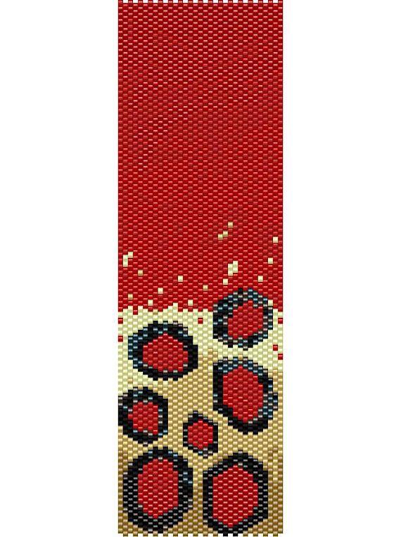 Red Dots Peyote Cuff Beaded Bracelet Pattern