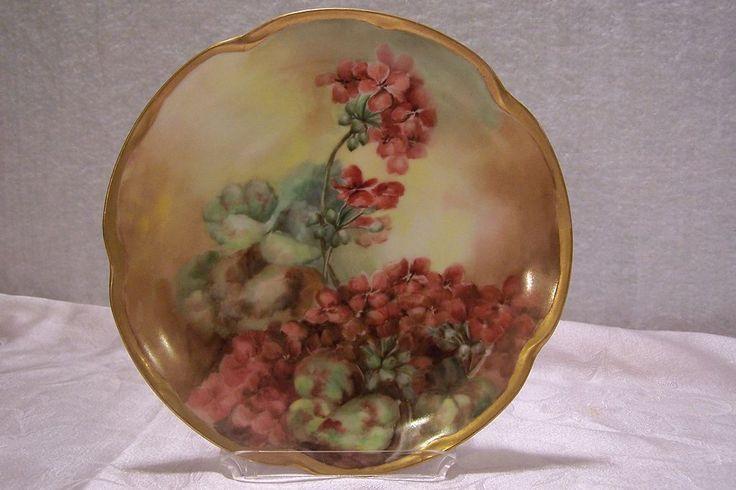 Antique Bavarian Hand Painted Plate featuring 'Gorgeous Orange Hanging Geraniums' -Louise Bavaria Porcelain ca1900'