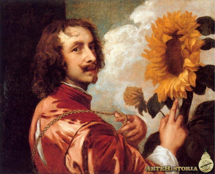 """""""Autorretrato con un girasol"""" es una obra de Anton van Dyck pintada al óleo sobre lienzo realizada entre 1632 y 1633"""