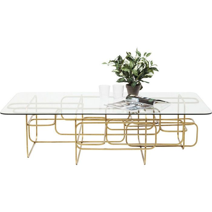 This Rectangular Coffee Table With Glass Top And Golden Frame Makes An Impact With Its Modern Elegance Particularly In 2020 Glass Table Gold Coffee Table Coffee Table