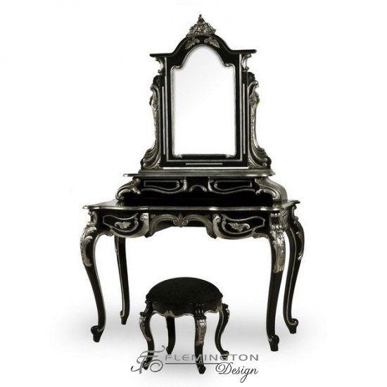 Flemington black and silver dressing table