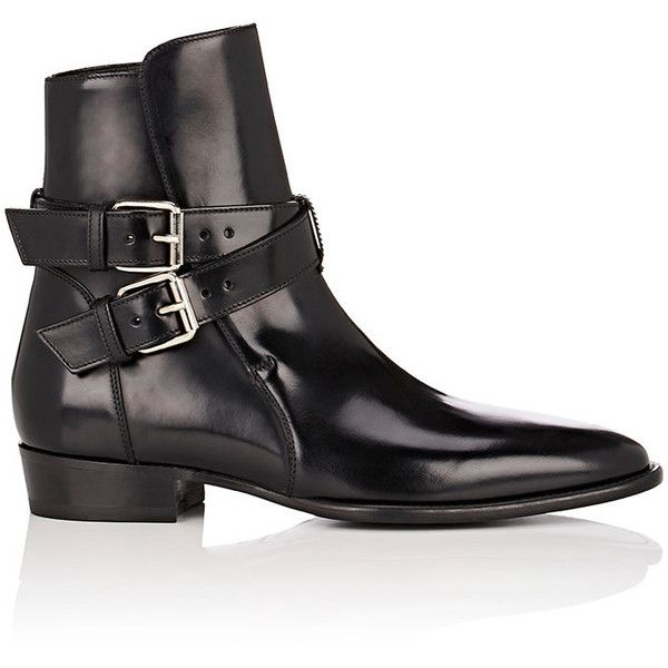 AMIRI Men's Spazzolato Leather Jodhpur Ankle Boots ($1,150) ❤ liked on Polyvore featuring men's fashion, men's shoes, men's boots, black, mens black ankle boots, mens black leather shoes, mens leather sole shoes, mens buckle shoes and mens black buckle shoes
