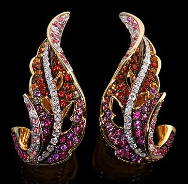 Mousson Atelier, collection Fall, earrings, Yellow gold 750, Multicolored sapphires, Diamonds