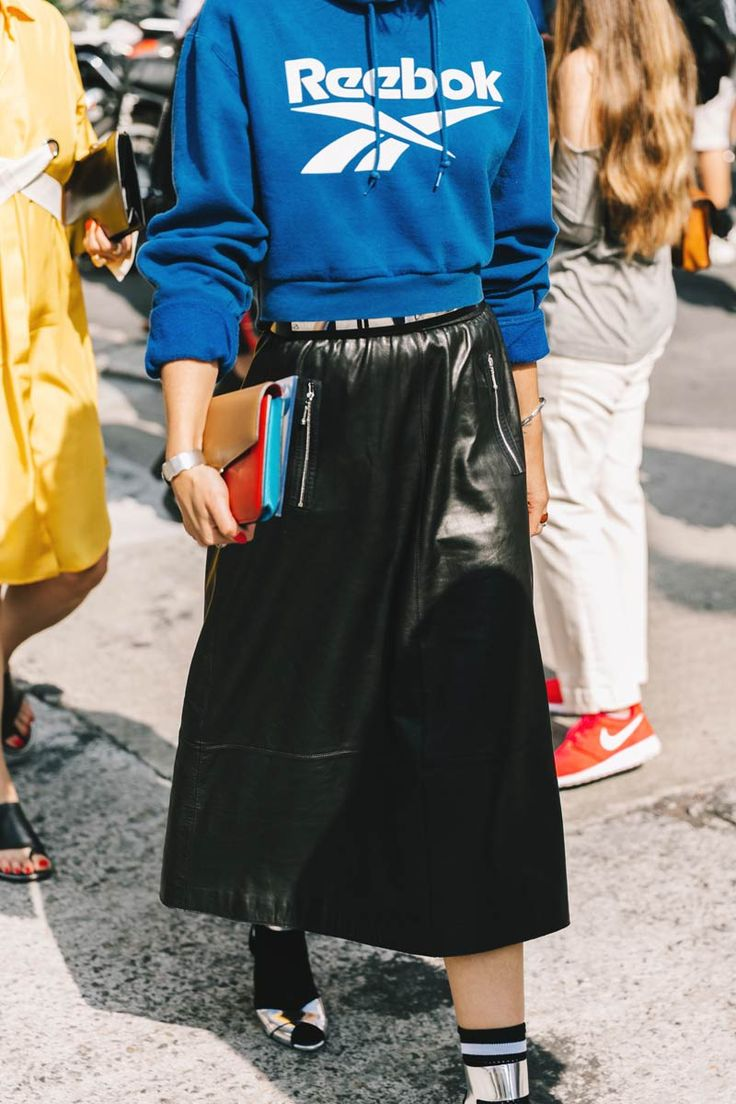 Street Style : cropped hoody sweat worn back with leather midi skirt || Saved by Gabby Fincham ||