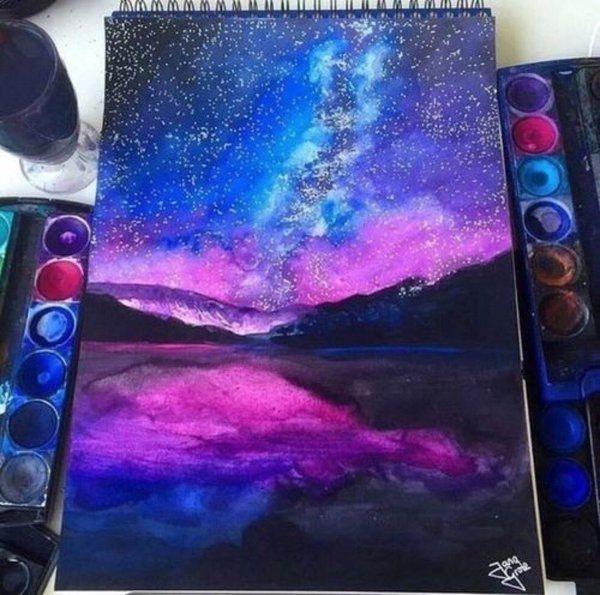 Galaxy. Painting. Watercolor. Lake. Sky. Reflection. Art. Beautiful. Nature.
