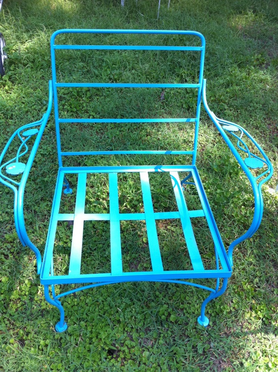 SALE AQUA Vintage Wrought Iron Chair By Lotusjrk On Etsy, $75.00