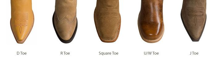 http://www.sierratradingpost.com/lp2/western-boot-guide/ Western Boot Toe Shapes :: :: J toe: Sharply pointed :: :: D toe: Tapered toward a point, but with a flat tip :: :: R toe: Tapered, but rounded at the tip (the most common toe shape in cowboy boots) :: :: W toe/U toe/Roper toe: Fully rounded or U-shaped :: :: Square toe: A wide, flat and angular toe