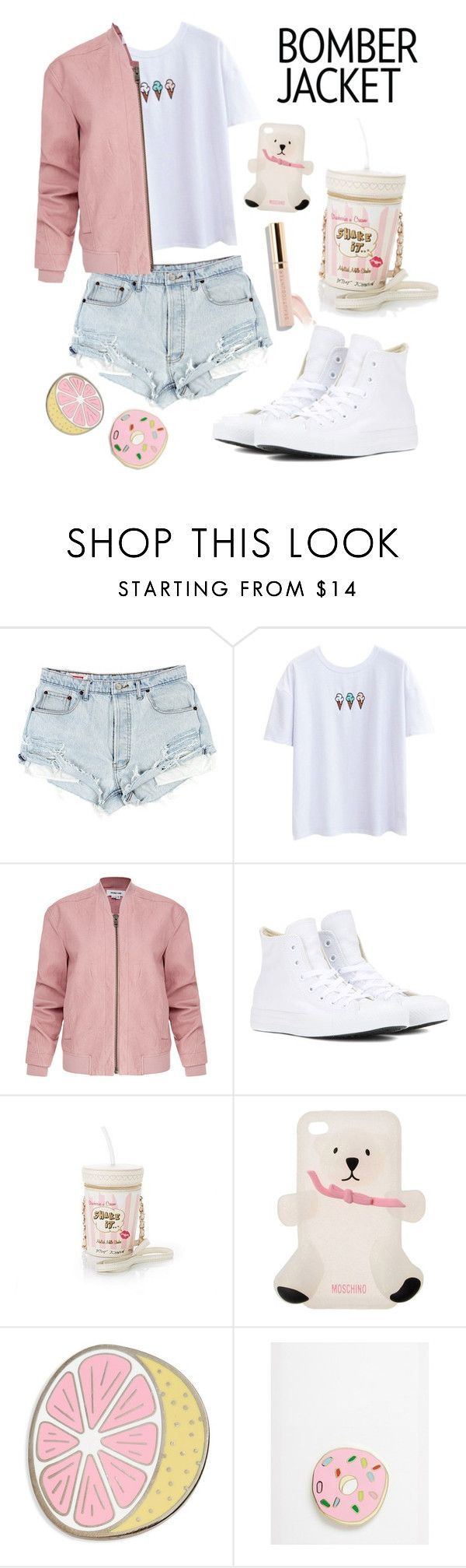 """Untitled #135"" by mydntkrl ❤ liked on Polyvore featuring Helmut Lang, Converse, Betsey Johnson, Moschino, Big Bud Press, Jolly Awesome and bomberjackets"
