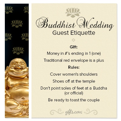 Jewish Wedding Gift Etiquette : Wedding Guest #Etiquette. If youre attending a Buddhist wedding ...
