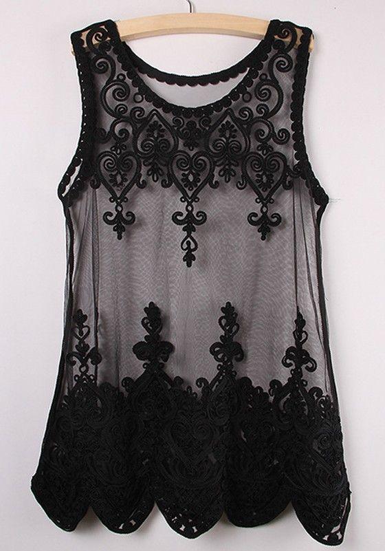 Black Plain Sleeveless Lace